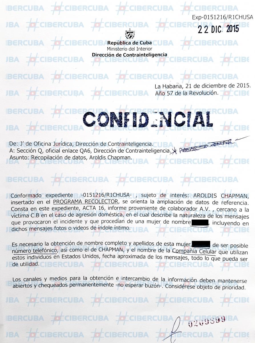 Documento filtrado de la Inteligencia de Cuba sobre el pelotero cubano Aroldis Chapman / © CiberCuba