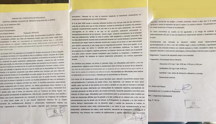 Diagnóstico médico sobre Nabeel Stephan, acuñado en el Hospital Ernesto Guevara de la Serna, Las Tunas.