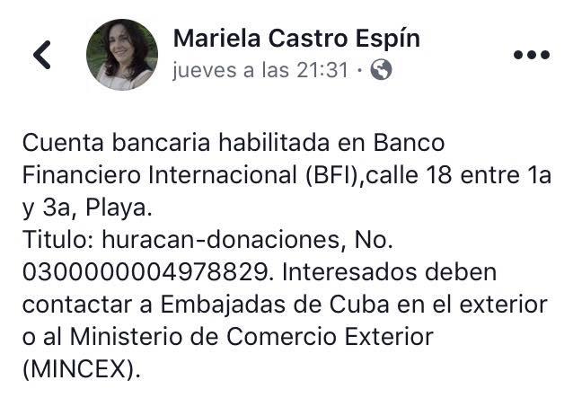 Facebook bloquea a hija de Raúl Castro por difundir cuenta bancaria