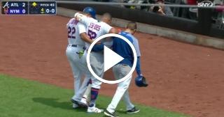 Yoenis Céspedes se lesiona en derrota de los Mets frente a lo Bravos