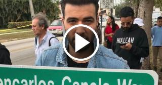 El cantante de origen cubano Jencarlos Canela inaugura calle con su nombre en Hialeah (Florida)