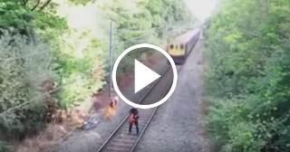 Escalofriante: hombre se salva por unos segundos de ser arrollado por un tren