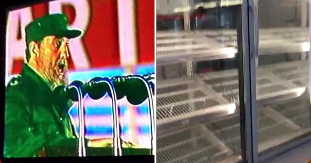 Discursos de Fidel Castro en una pantalla gigante en el centro comercial en  divisas más grande de Santiago de Cuba 6c3aa561103
