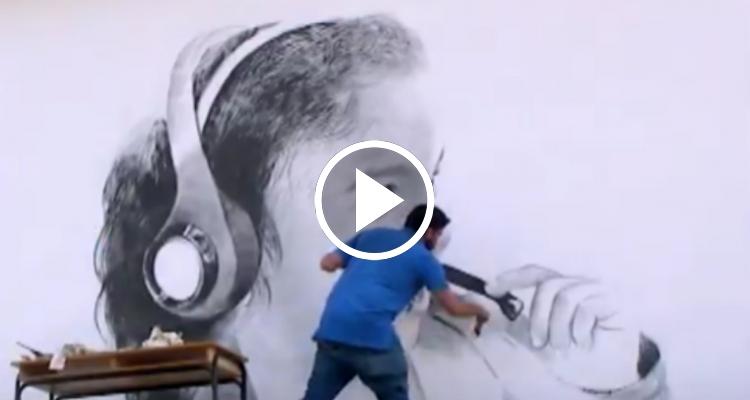 Pintor cubano realiza murales con rostros infantiles en las calles de Cuba