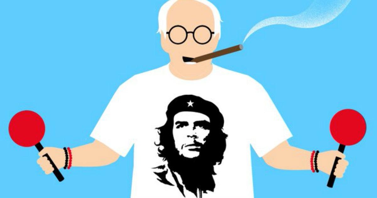 "Bernie Sanders als ""Tourist"" | Bildquelle: https://www.cibercuba.com/noticias/2020-02-25-u1-e186450-s27061-importante-caricaturista-cubano-dibuja-donald-trump-ahora © Edel Rodriguez/Twitter | Bilder sind in der Regel urheberrechtlich geschützt"